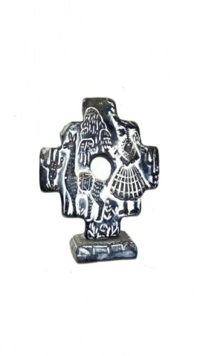 stone-carving-of-Andean-cross-Bolivian-village-with-llamas-300